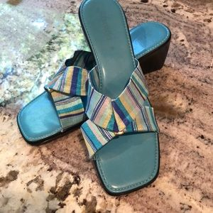 St. John Bay Sandals Striped Straps with Buckle 9M